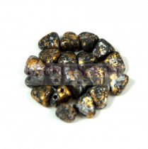 Nib-Bit - Czech Pressed 2 Hole Bead - 6x5mm - Tweedy Gold