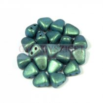 Nib-Bit - Czech Pressed 2 Hole Bead - 6x5mm - Polichrome Aqua Teal