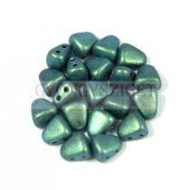 Nib-Bit - Czech Pressed 2 Hole Bead - 6x5mm - Polichrome Aqua Teal