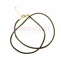 Leather Necklace Base - Brown - with lobster clasp - 45 cm