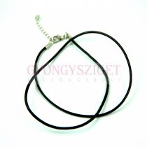 Leather Necklace Base - Black - with lobster clasp - 46 cm