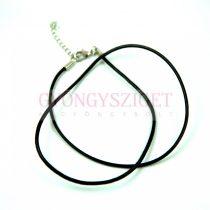 Bőr nyakláncalap - fekete - delfinkapoccsal - 46 cm - 2mm
