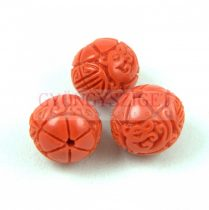 Resin round bead - Oriental - Orange - 10mm