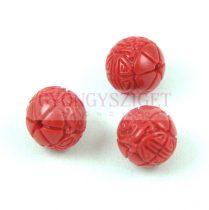 Gyanta golyó gyöngy - Oriental - Piros - 10mm