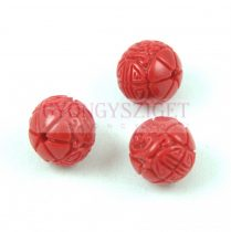 Resin round bead - Oriental - Red - 10mm