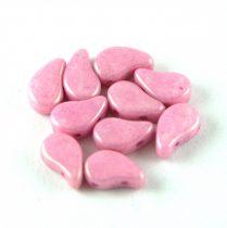 Paisley Duo - cseh préselt kétlyukú gyöngy - White Pink Luster - 8x5mm