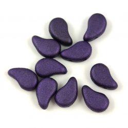 Paisley Duo - cseh préselt kétlyukú gyöngy - Matt Metallic Purple - 8x5mm