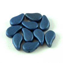Paisley Duo - cseh préselt kétlyukú gyöngy - Matt Metallic Blue - 8x5mm