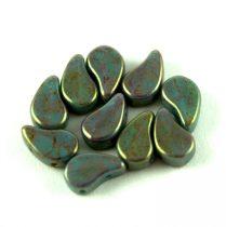 Paisley Duo - cseh préselt kétlyukú gyöngy - Turquoise Green Pink Bronze Luster - 7.5  x 7.5 mm