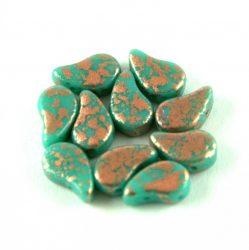 Paisley Duo - cseh préselt kétlyukú gyöngy - Turquoise Green Copper Patina - 7.5  x 7.5 mm