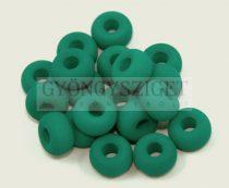 Pandora - Czech Big Hole Glass Bead - matte silk satin emerald- 11mm