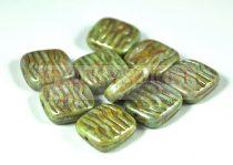 Cseh préselt egyedi formák - zöld barna márvány - 16x15mm