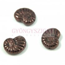 Special Shapes - Czech Glass Bead - eggplant bronze luster - fossil - 17mm