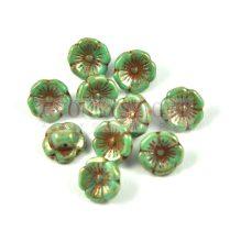 Cseh üveg gomb gyöngy - Turquoise Green - 12mm