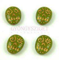 Cseh préselt egyedi formák -  Green Pea Gold - Calavera - 16x13mm