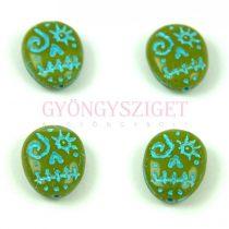 Cseh préselt egyedi formák -  Green Pea Turquoise Blue - Calavera - 16x13mm
