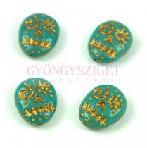 Cseh préselt egyedi formák -  Turquoise Green Gold - Calavera - 16x13mm