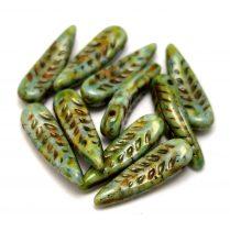 Cseh préselt egyedi formák - Feather -  Alabaster Brown Green Luster - 5x17mm