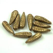 Cseh préselt egyedi formák - Feather - Jet Golden Bronze - 5x17mm