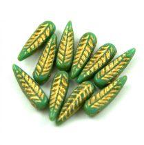 Cseh préselt egyedi formák - Feather - Turquoise Green Gold - 5x17mm