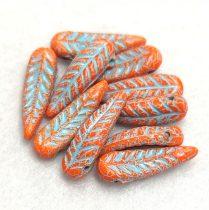 Cseh préselt egyedi formák - Feather - Orange Turquoise Travertin - 5x17mm
