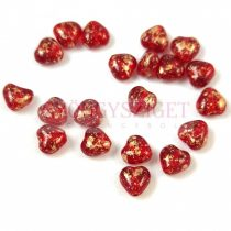 Special Shapes - Czech Glass Bead - Heart - Siam Gold Patina - 6mm