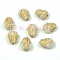 Cseh préselt egyedi formák - trilobita - fehér arany - 10mm