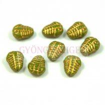 Cseh préselt egyedi formák - trilobita - zöld arany - 10mm