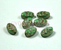 Cseh Table Cut üveg gyöngy - fossil - turquoise green picasso - 8x13mm