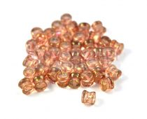 Cseh Pellet gyöngy - kristály rózsaszín bronz lüszter -4x6mm