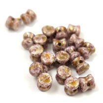 Cseh Pellet gyöngy - telt fehér rózsaszín márvány -4x6mm