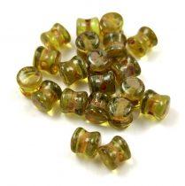 Cseh Pellet gyöngy - light olivine picasso -4x6mm