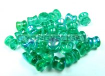 Cseh Pellet gyöngy - emerald light ab -4x6mm