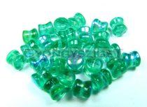 Cseh Pellet gyöngy - emerald light ab -4x6mm