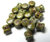 Cseh Pellet gyöngy - telt mohazöld-barna márvány -4x6mm