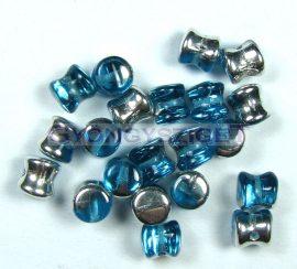 Cseh Pellet gyöngy - aqua ezüst -4x6mm
