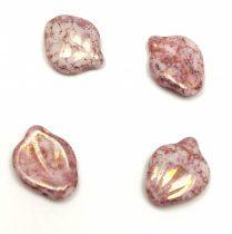 Petal - Czech Glass Bead - 12x15mm - Alabaster Rose Bronze