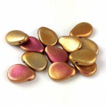 Petal - Czech Glass Bead - 8x11mm - Yellow Gold Metallic Iris
