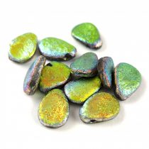 Petal - Czech Glass Bead - 8x11mm - Crystal Full Vitrail Etched