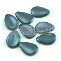 Petal - Czech Glass Bead - 11x16mm - Pastel Dark Gray