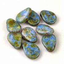 Petal - Czech Glass Bead - 8x11mm - Alabaster Brown Blue Luster