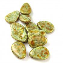 Petal - Czech Glass Bead - 11x16mm - Alabaster Brown Green Luster