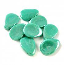 Petal - Czech Glass Bead - 11x16mm - Turquoise Green Luster