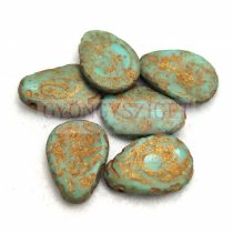 Petal - Czech Glass Bead - 11x16mm - Turquoise Green Etched Gold