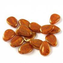 Petal - Czech Glass Bead - 11x16mm - Orange Bronze