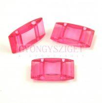 Peyote alap - kétlyukú műanyag gyöngy - Fuchsia - 19x8mm