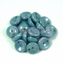 Cseh préselt Piggy gyöngy - 4x8mm - alabástrom kék márvány