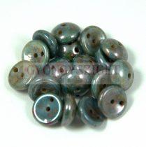 Cseh préselt Piggy gyöngy - 4x8mm - alabástrom zöld barna márvány