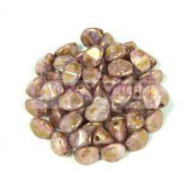 Cseh préselt Pinch gyöngy - Alabaster Purple Brown Bronze Luster - 5x3 mm