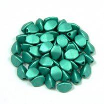 Cseh préselt Pinch gyöngy - metallic polichrome green - 5x3mm